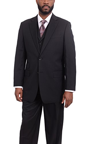 150s Wool Suit - Apollo King Classic Fit Solid Black Two Button Super 150s Wool Three Piece Suit
