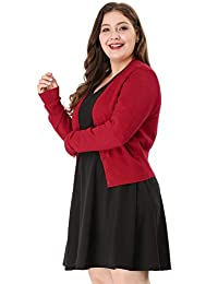 Agnes Orinda Women's Plus Size Long Sleeve Solid Open Front Cropped Cardigan