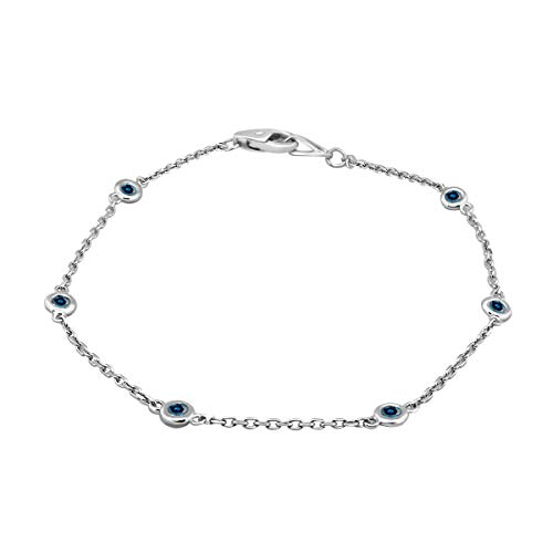 0.25 Carat Blue Genuine Diamond On The Chain Bracelet In 14K Rose, White & Yellow Gold