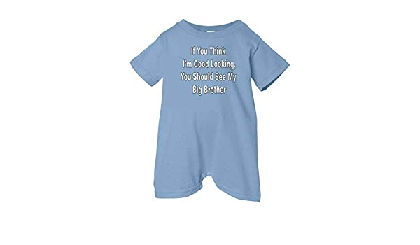 White Text Unisex Baby I Love My Big Brother So Relative Lt. Blue, 12 Months T-Shirt Romper