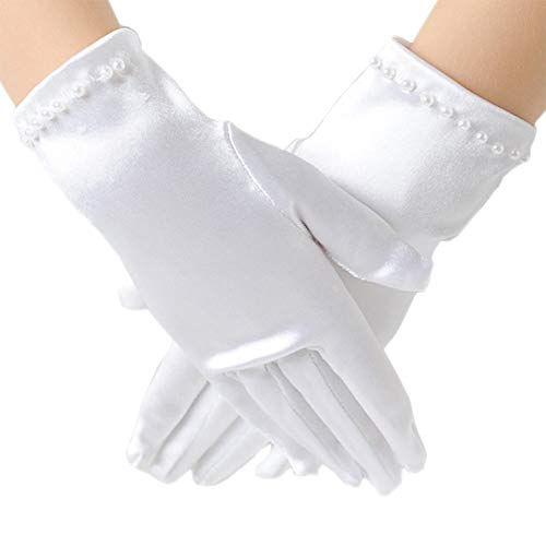 Tandi Girls Gorgeous Satin Fancy Gloves for Special Occasion Dress Formal Wedding Pageant Party Short -