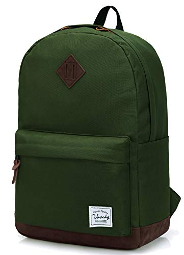 Vaschy Unisex Classic Lightweight Water-resistant Campus School Rucksack Travel BackPack Green Fits 14-Inch Laptop -