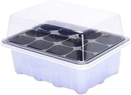 BLO Setzkasten für Saatgut, 10 Stück mit 12 Löchern, Keimtopf, Saatschale, Pflanzenteller, Grow-Set Schwarz