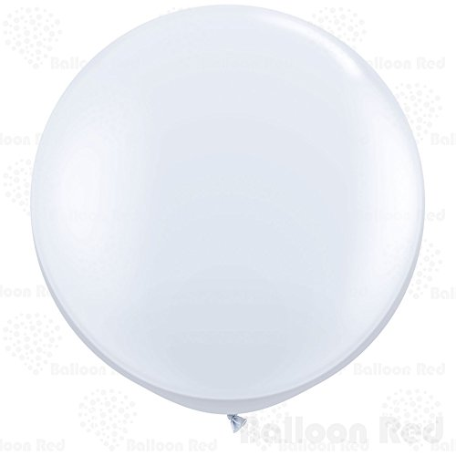 36 Inch Giant Jumbo Latex Balloons (Premium Helium Quality), Pack of 3, Round Shape - White - Homemade Halloween Costumes Balloons