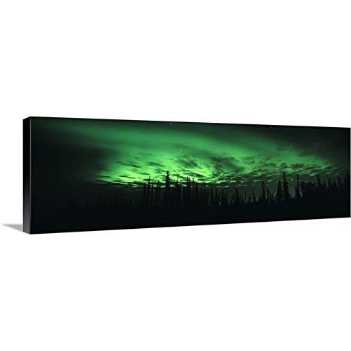 Solid-Faced Canvas Print Wall Art Print Entitled Alaska, Fairbanks, Aurora Borealis, View of The Northern Lights 36 x12