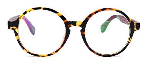 Amillet Wooden Vintage Retro Round Glasses Frame Clear Lens Fashion Circle Eyeglasses - Rx Wood Glasses