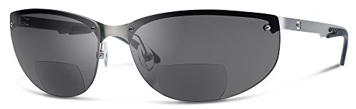 NV1 Bifocal Reading Sunglasses | Sun Readers Designed for Aviators and Casual Use With Wrap-Around Fit | Made from Highest Quality Materials (Matte Stainless Steel Frame/Gray Lenses, 2.0)