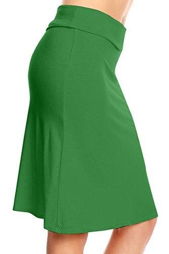 Simlu Green Moss Skirt Green Midi Skirt Knee Length Green Flare Skirt Made in USA Skirt (Knee Green Length Skirt)