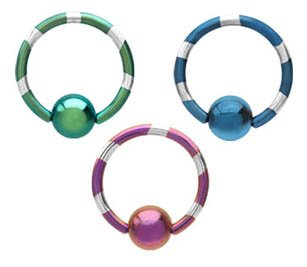 3 piece lot Green & Silver Stripe, Purple & Silver Stripe, Blue & Silver Stripe Anodized titanium Captive bead Ring lip, belly, nipple, cartilage, tragus, earring - 14 gauge, 3/8