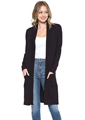 (Urban Look Women's Long Sleeve Classic Open Front Knit Long Cardigan (Small, Black))