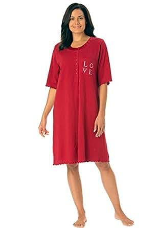 Dreams & Co. Women's Plus Size Satin Trim Cotton Sleepshirt Classic Red,M/L