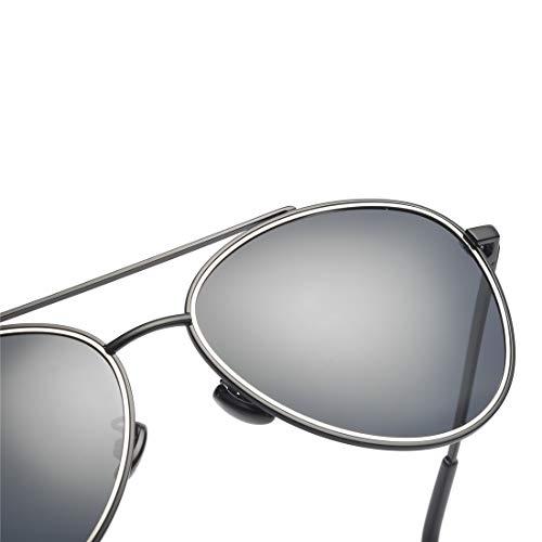 Lens Mujer de Hombre de Sakuldes de Frame y Lente Black Black Gray Espejo Frame clásicos Gafas Sol retrovisor Gafas Sol Color Gray UV400 Lens de O7OwRZq