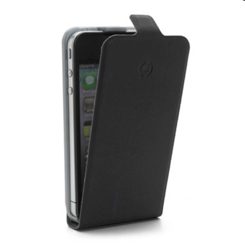Celly Face185 Leder Flap Case für Apple iPhone 5 schwarz