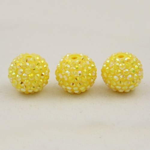 Calvas 12MM Choose Color 50pcs Chunky Resin Rhinestone Beads Bling Round Ball Beads for DIY Kid Necklace Earring Jewelry findings - (Color: Yellow) ()