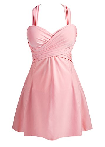 COCOPEAR Women's Elegant Crossover One Piece Swimdress Floral Skirted Swimsuit(FBA) LightPink - Skirt Coral Suit