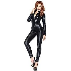 Leg Avenue Womens Wet Look Zipper Front Cat Suit