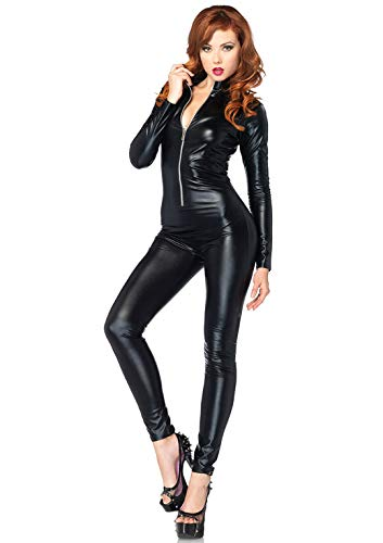 Bodysuit Catwoman Costumes - Leg Avenue Women's Wet Look Zipper Front Cat Suit,