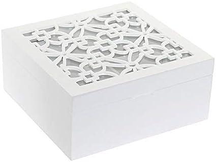 Dream Hogar Caja te infusiones Tapa Cristal azulejo Madera MDF lacada 4 Compartimentos 18x18x8 cm: Amazon.es: Hogar