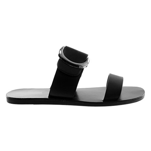 Angkorly Zapatillas Moda Sandalias Mules Slip-On Mujer Hebilla Tanga Tacón Plano 1 cm Negro