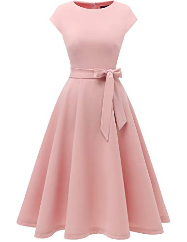 DRESSTELLS Women's Prom Tea Dress Vintage Swing Cocktail Party Dress with Cap-Sleeves Blush L