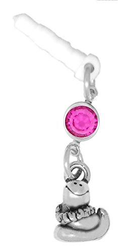 Clayvision Hula Snake Phone Charm with Fuchsia Colored Swarovski Crystal White Plug ()