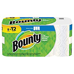 """Bounty Select-A-Size 2-Ply Paper Towels, 11"""" x 5 15/16"""", White, Pack of 8 Giant Rolls"""