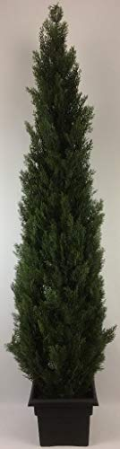 Outdoor Artificial UV Rated 7 ft Cedar Topiary Tree with Square Black -