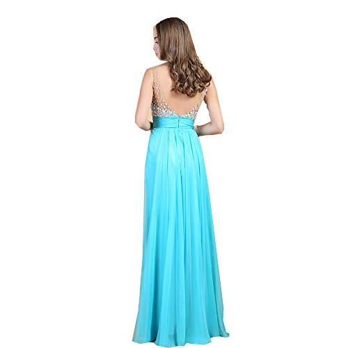 (Elegant Banquet Bridemaid Sleeveless Deep V Neck Sexy Sequined Splice Long Blue White Dress as (M, Sky)