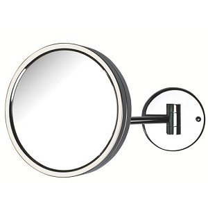 Jerdon JD13C 8.5-Inch Adjustable Wall Mount Makeup Mirror with 5x Magnification, Chrome Finish