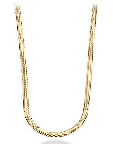 (MiaBella 18K Gold Over Sterling Silver Italian 4mm Solid Diamond-Cut Snake Herringbone Chain Link Necklace for Women Men 18