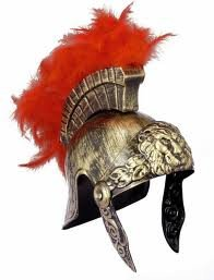 Jacobson Hat Company Roman Helmet Gold With Red Feathers