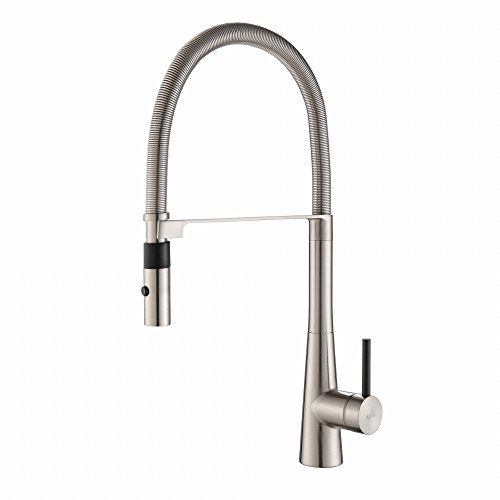 Kraus KPF-2730SS Modern Crespo Single Lever Commercial Style Kitchen Faucet with Flex Hose, Stainless Steel
