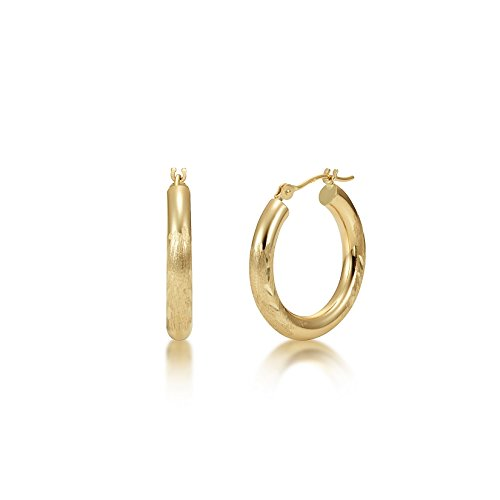 Satin Diamond Cut 14k Yellow Gold 3mm x 20mm Click Top Tube Hoop Earrings - By Kezef ()