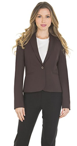 Womens Classic Basic One button Blazer Long Sleeve Full Lining by Red Hanger,Brown,Medium