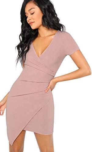 Milumia Women's Elegant Short Sleeve V Neck Solid Surplice Wrap Slim Fit Dress