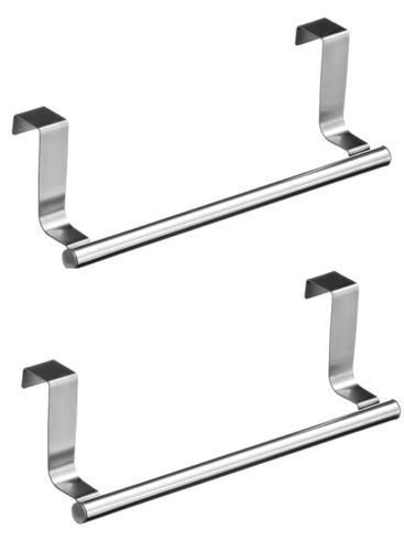 2 x Over Kitchen Cabinet Door Tea Hand Towel Rail Hanger Holder Storage 23cm New by E Trade