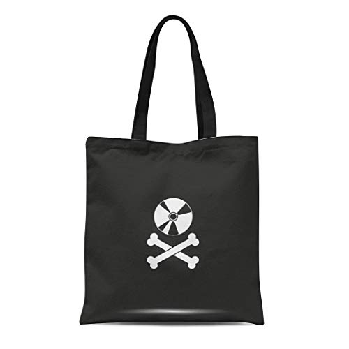 Semtomn Canvas Tote Bag Dvd Disc Crossbones Copyright Piracy Flat Jolly Music Pirate Durable Reusable Shopping Shoulder Grocery Bag