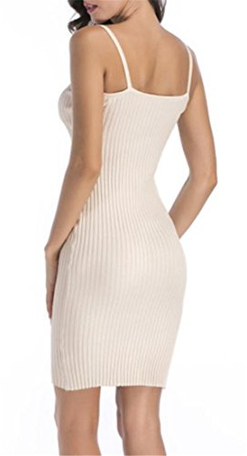 Women's Knitted Cromoncent Spaghetti Solid Strap Dress Summer Lace up Apricot Bodycon qwCfCd