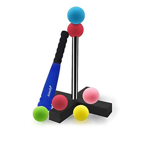 (Aoneky Mini Foam Tball Set for Toddlers - Carry Bag Included - Best Baseball T Ball Toys for Kids Age 1 Years Old - Upgraded Version)