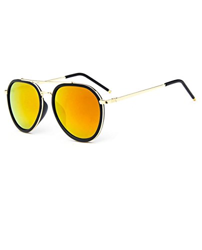 Konalla Retro Full Frame Aviator Flash Lens UV Protective Sunglasses - Fly King Flys Black Sunglasses