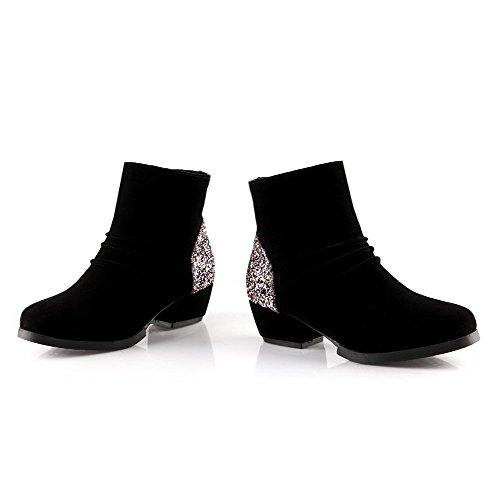 AllhqFashion Mujeres Sólido Gamuza(Imitado) Mini Tacón Cremallera Puntera Redonda Botas Negro