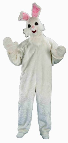 Forum Novelties Furry Friends Plush Funny Bunny Costume, White, One (Bugs Bunny Mascot Costume)