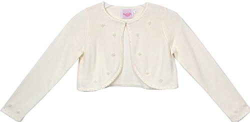 Flower Girl Jacket Elegant Pearl Beaded Soft Cozy Sweater for Big Girl Ivory L C30.10C