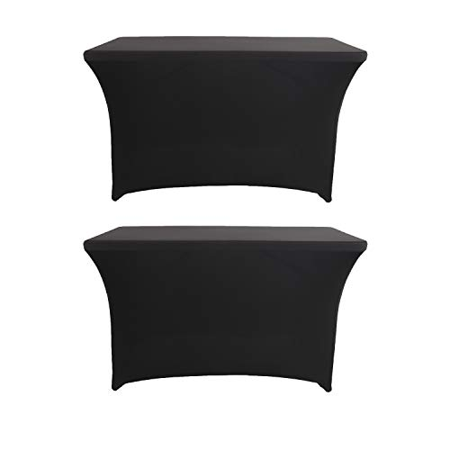 2 Pack 4ft Rectangle Black Cocktail Tablecloth with Stretch Spandex Fitted Table Cover for Bar Table Wedding Table Cocktail Table Massage Table Kitchen Table (Rectangle Bar Table)