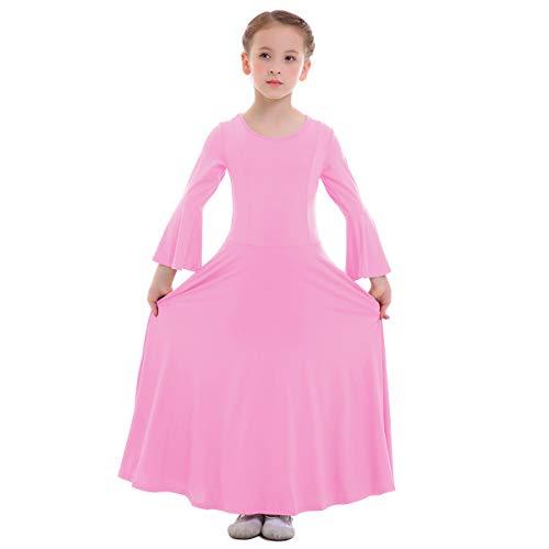 (IWEMEK Kid Girls Princess Liturgical Praise Dress Long Bell Sleeve Ruffled Lyrical Dance Dress Worship Costume Full Length Loose Fit Casual Pleated Dress Ballet Dancewear Praisewear Pink 11-12 Years)