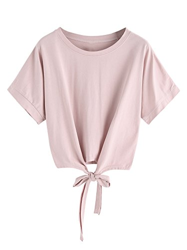 MakeMeChic Womens Summer Crop Top Solid Short Sleeve Tie Front T-Shirt Top