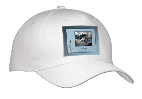 Beverly Turner Thank You Design - Thank You, Frog in a Pond Photo, Cattails Accent, Blue Frame - Caps - Adult Baseball Cap (Cap_286999_1)
