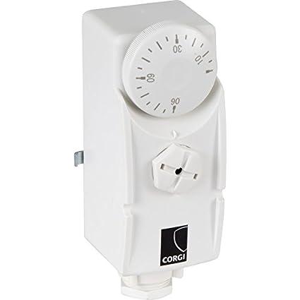 Corgi PCS-C para tuberías y cilindro termostato, color blanco