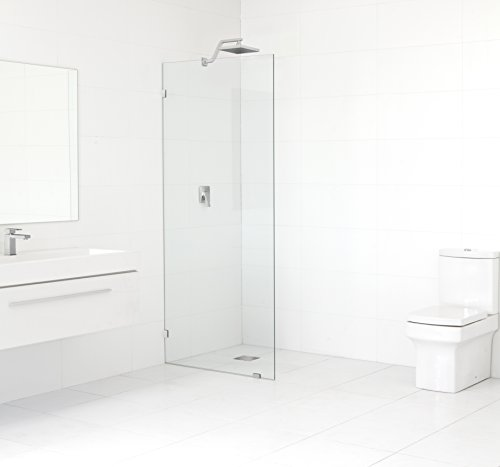 Glass Warehouse GW-SFP-33-CH Frameless Shower Door – Single Fied Panel with Enduroshield Glass-Coating, 78 x 33 , Chrome