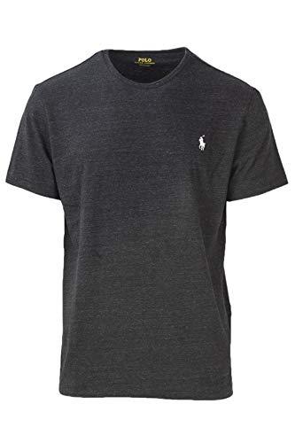 Polo Ralph Lauren Men's Classic Fit Crew-Neck T-Shirt Cotton (X-Large, Black Heather (White - Fit Classic Shirt Ralph Lauren